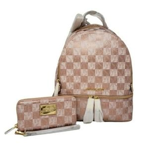 Michael Kors Rhea Small Checkerboard Backpack SET